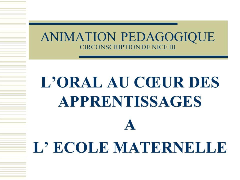 ANIMATION PEDAGOGIQUE CIRCONSCRIPTION DE NICE III LORAL AU CŒUR DES APPRENTISSAGES A L ECOLE MATERNELLE