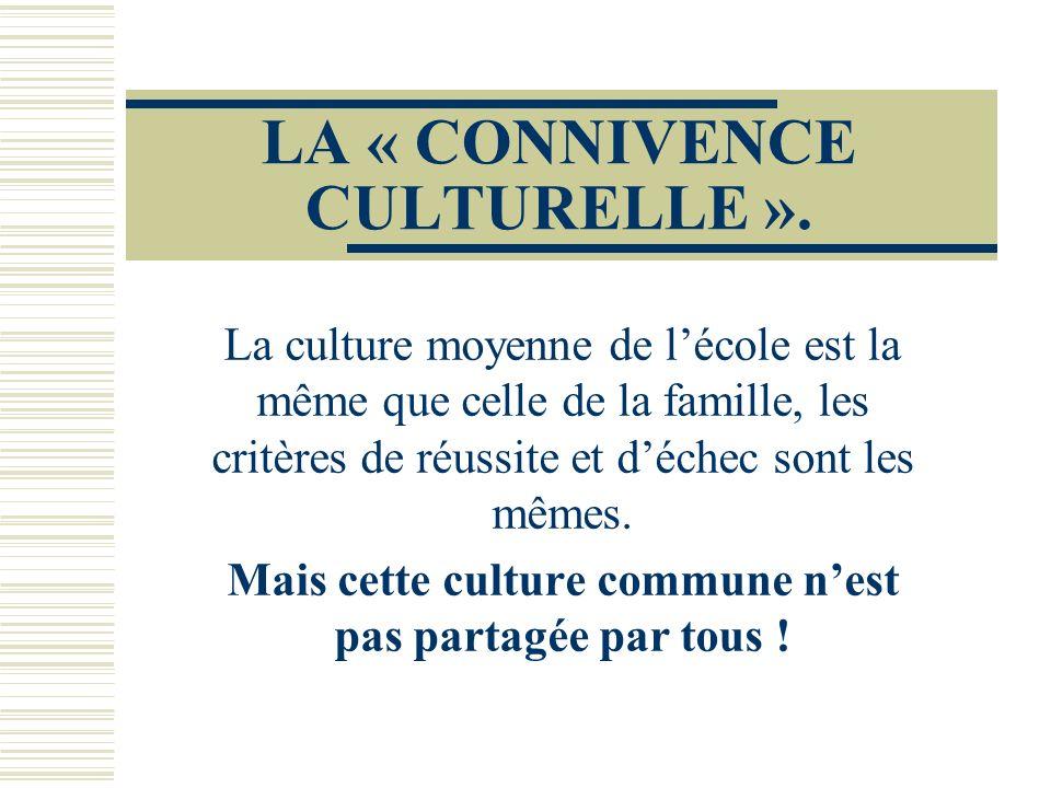LA « CONNIVENCE CULTURELLE ». La culture moyenne de lécole est la même que celle de la famille, les critères de réussite et déchec sont les mêmes. Mai