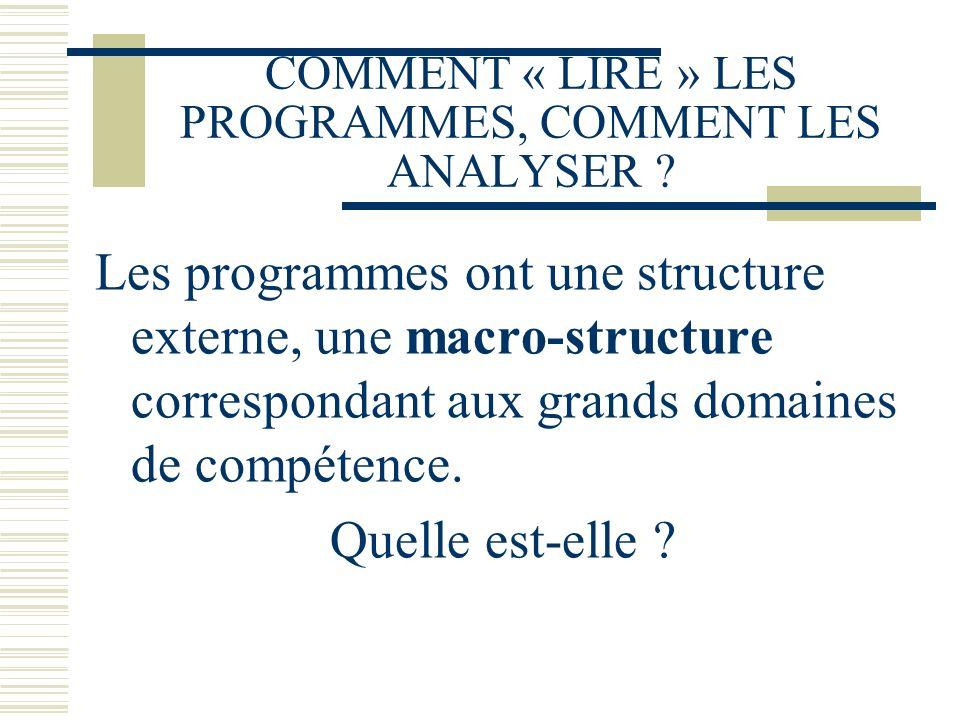 COMMENT « LIRE » LES PROGRAMMES, COMMENT LES ANALYSER ? Les programmes ont une structure externe, une macro-structure correspondant aux grands domaine