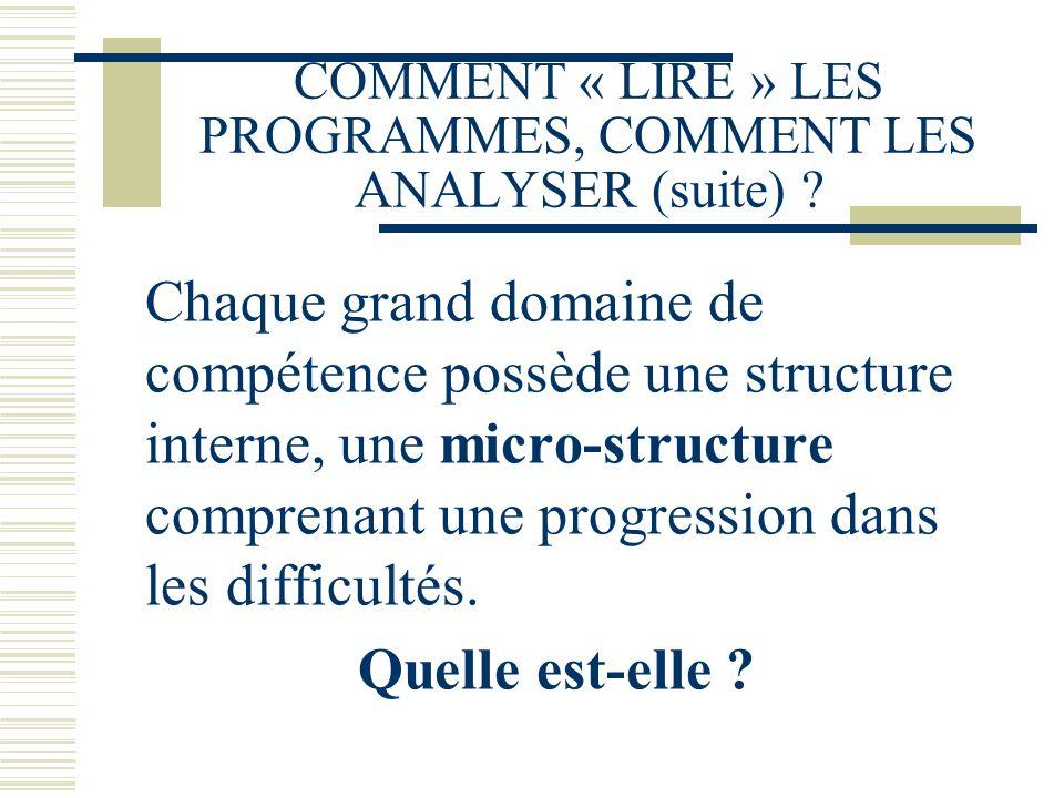COMMENT « LIRE » LES PROGRAMMES, COMMENT LES ANALYSER (suite) ? Chaque grand domaine de compétence possède une structure interne, une micro-structure