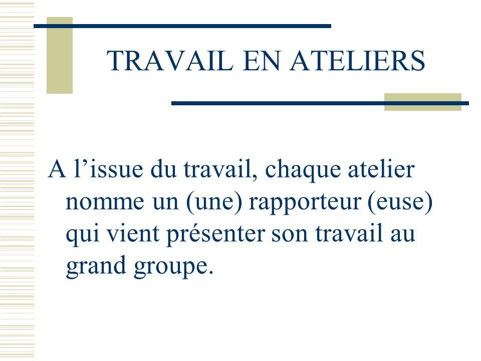 TRAVAIL EN ATELIERS A lissue du travail, chaque atelier nomme un (une) rapporteur (euse) qui vient présenter son travail au grand groupe.