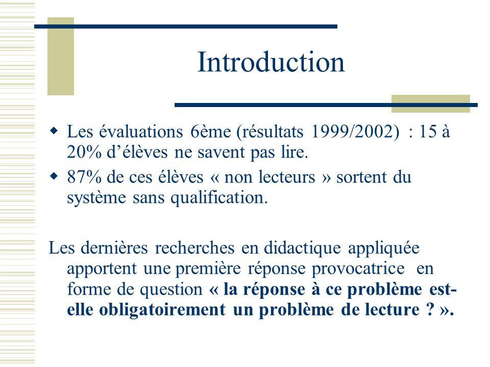 Introduction Les évaluations 6ème (résultats 1999/2002) : 15 à 20% délèves ne savent pas lire. 87% de ces élèves « non lecteurs » sortent du système s