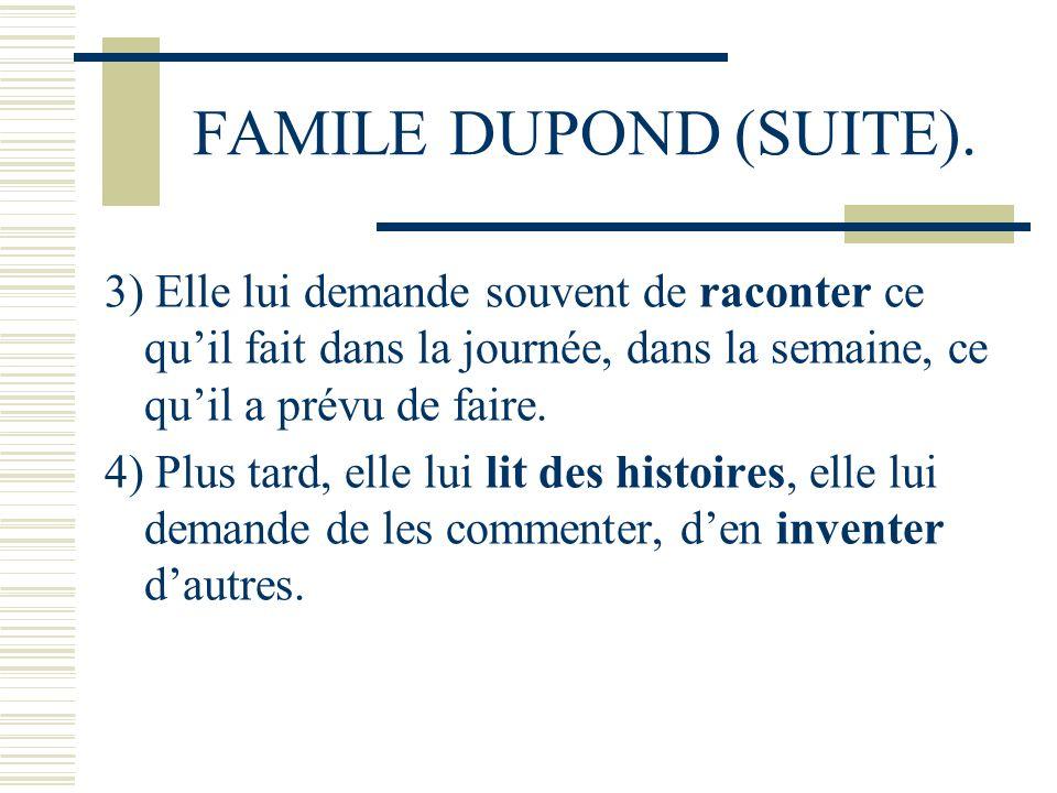 FAMILE DUPOND (SUITE). 3) Elle lui demande souvent de raconter ce quil fait dans la journée, dans la semaine, ce quil a prévu de faire. 4) Plus tard,