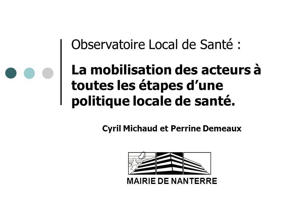 Observatoire Local de Santé : La mobilisation des acteurs à toutes les étapes dune politique locale de santé. Cyril Michaud et Perrine Demeaux MAIRIE