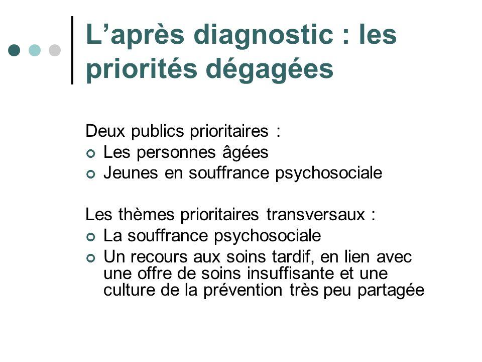 Laprès diagnostic : les priorités dégagées Deux publics prioritaires : Les personnes âgées Jeunes en souffrance psychosociale Les thèmes prioritaires