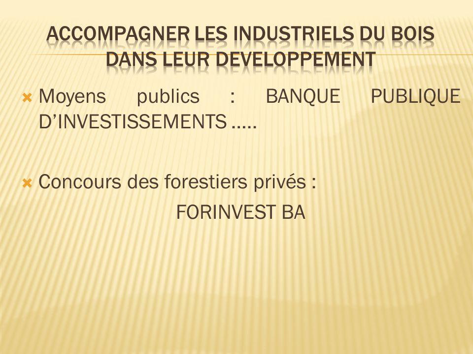 Moyens publics : BANQUE PUBLIQUE DINVESTISSEMENTS ….. Concours des forestiers privés : FORINVEST BA