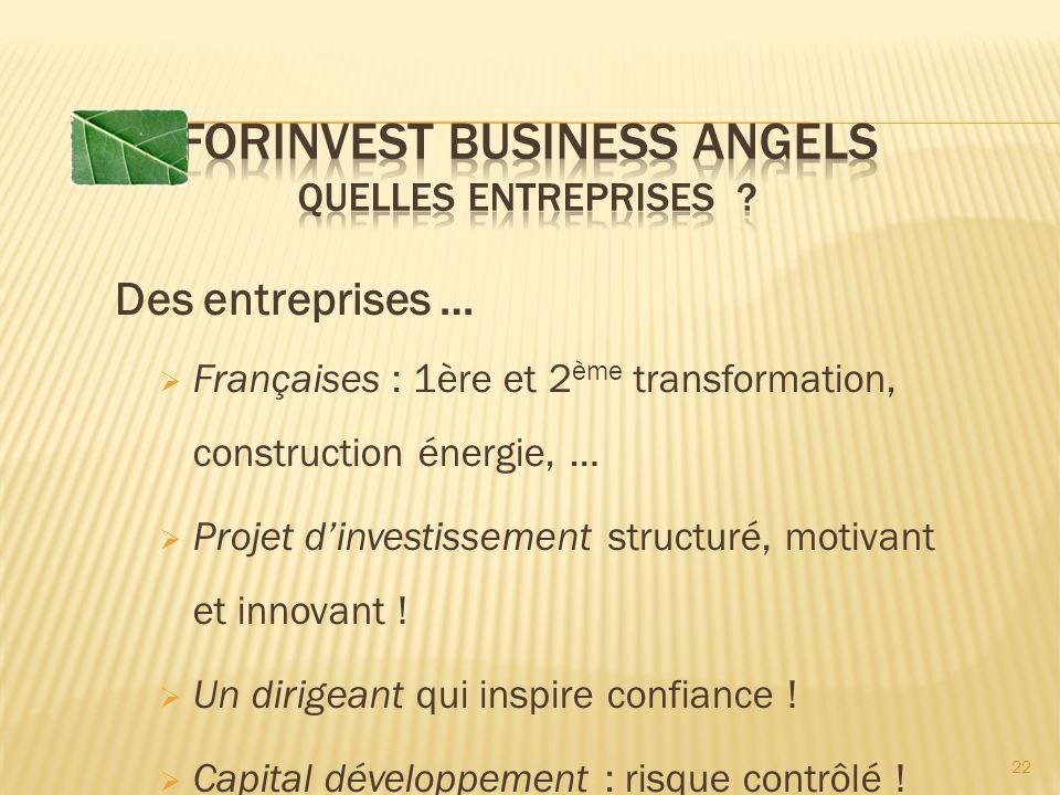Des entreprises … Françaises : 1ère et 2 ème transformation, construction énergie, … Projet dinvestissement structuré, motivant et innovant .