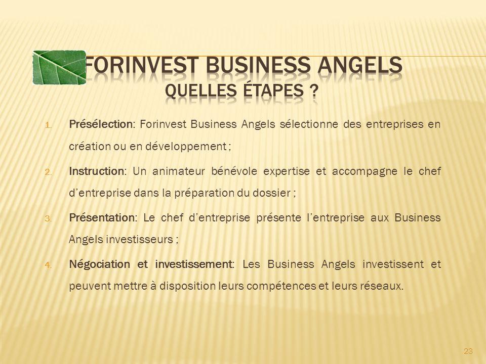 1. Présélection: Forinvest Business Angels sélectionne des entreprises en création ou en développement ; 2. Instruction: Un animateur bénévole experti