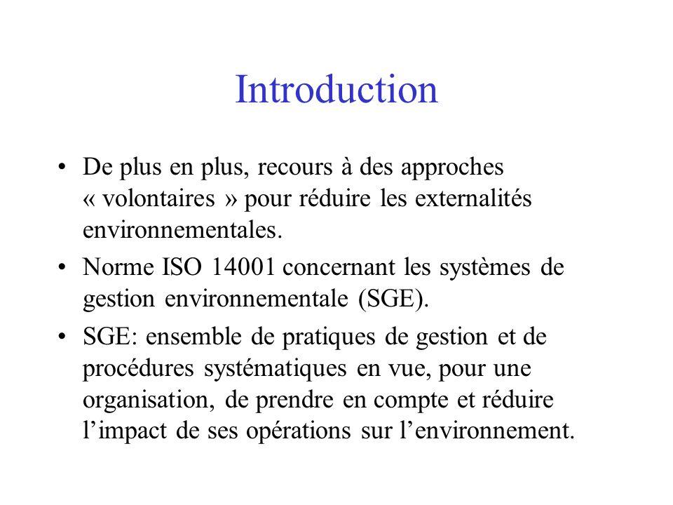 Introduction De plus en plus, recours à des approches « volontaires » pour réduire les externalités environnementales. Norme ISO 14001 concernant les