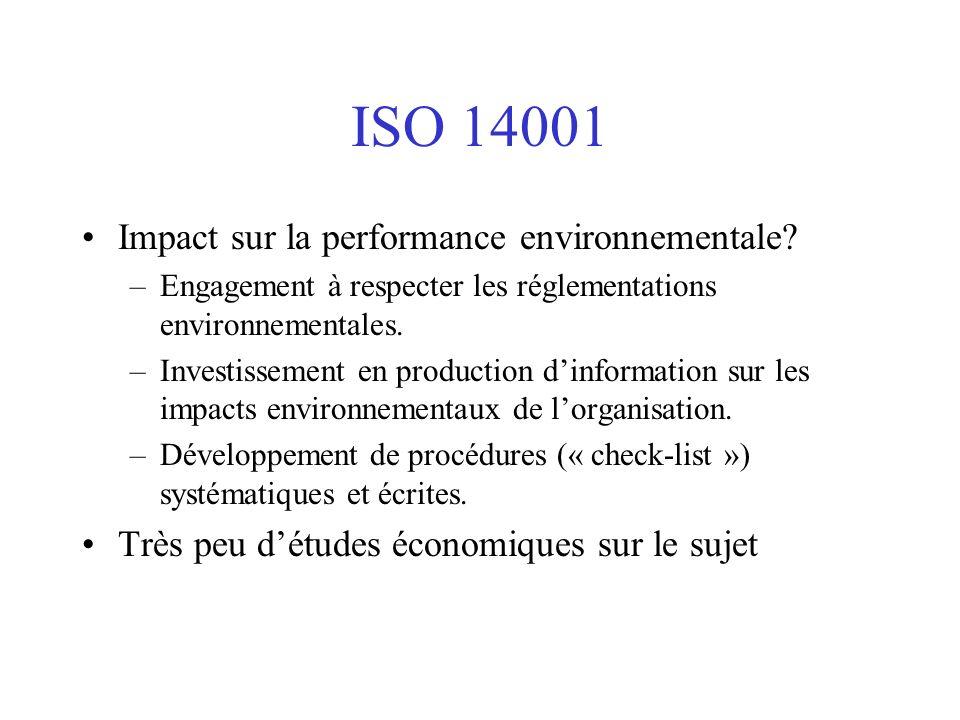 ISO 14001 Impact sur la performance environnementale? –Engagement à respecter les réglementations environnementales. –Investissement en production din