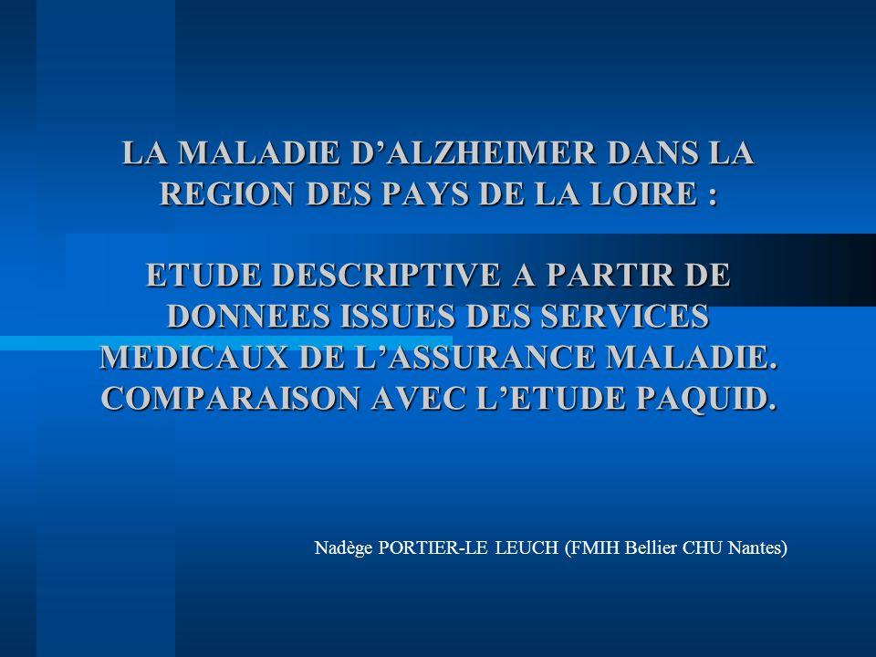 LA MALADIE DALZHEIMER DANS LA REGION DES PAYS DE LA LOIRE : ETUDE DESCRIPTIVE A PARTIR DE DONNEES ISSUES DES SERVICES MEDICAUX DE LASSURANCE MALADIE.