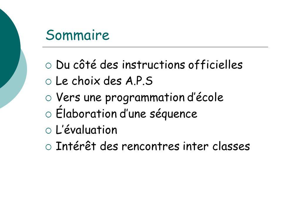 Sommaire Du côté des instructions officielles Le choix des A.P.S Vers une programmation décole Élaboration dune séquence Lévaluation Intérêt des renco
