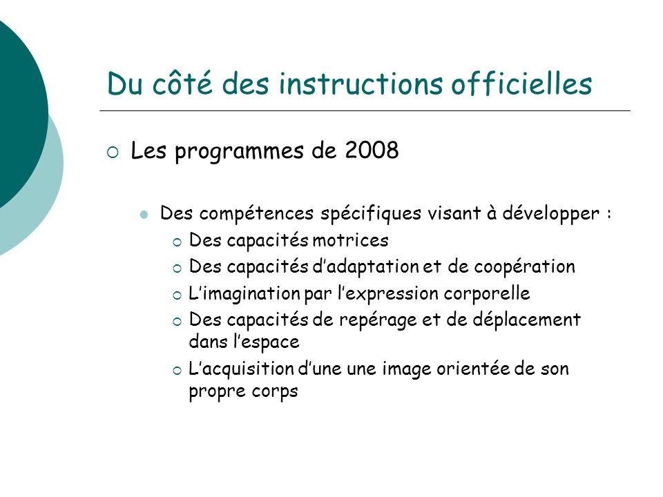 Du côté des instructions officielles Les programmes de 2008 Des compétences spécifiques visant à développer : Des capacités motrices Des capacités dad