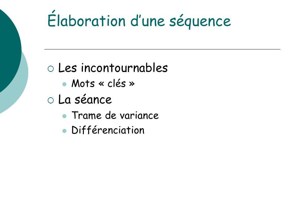 Élaboration dune séquence Les incontournables Mots « clés » La séance Trame de variance Différenciation