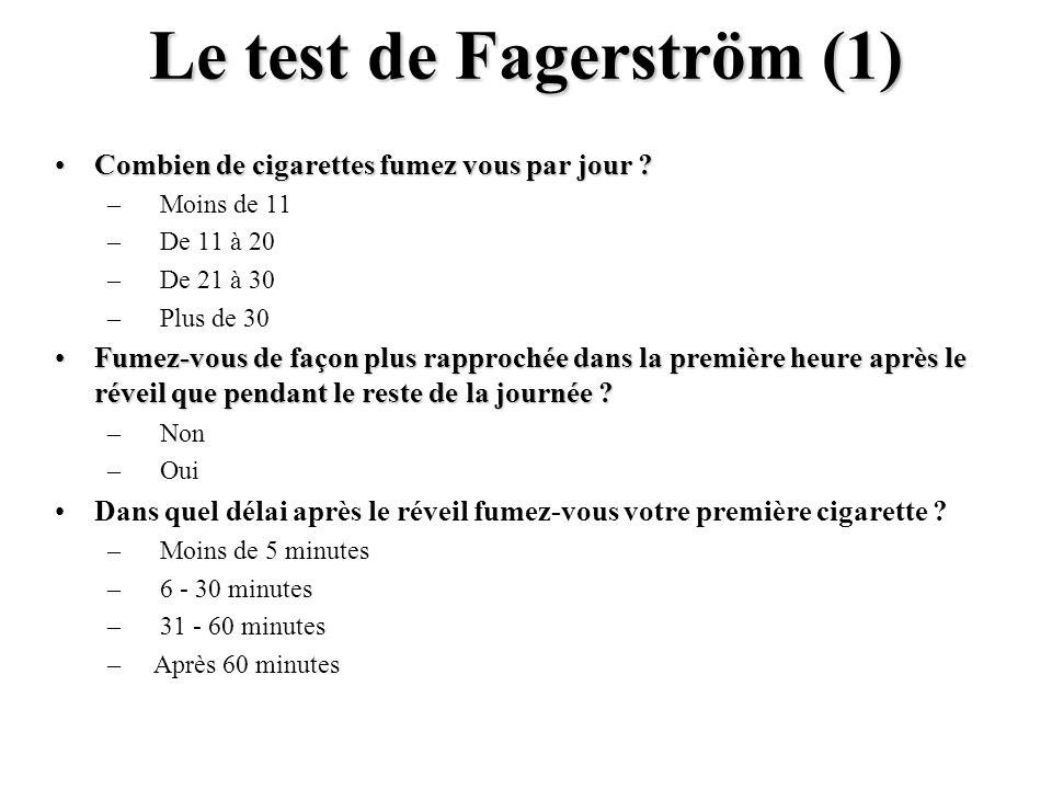 Le test de Fagerström (1) Combien de cigarettes fumez vous par jour ?Combien de cigarettes fumez vous par jour ? – Moins de 11 – De 11 à 20 – De 21 à