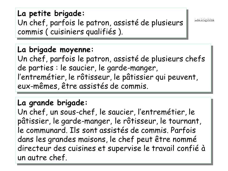 COMPOSITION DE LEQUIPE Léquipe de cuisiniers travaillant sous la responsabilité dun chef porte le nom de brigade. Son importance varie en fonction de
