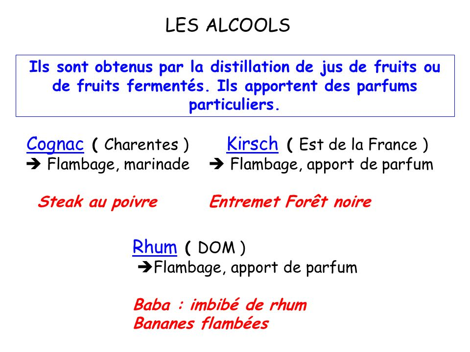 le volume dalcool est supérieur à celui des vins pour atteindre 15 à 20 %. En cuisine, ils apportent une saveur et un parfum particuliers. LES VINS DE