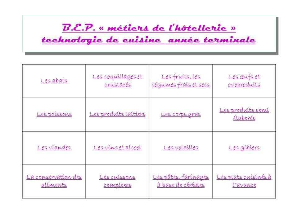 B.E.P.« métiers de lhôtellerie » technologie de cuisine B.E.P.