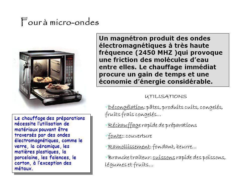 Plaque à induction AVANTAGESINCONVENIENTS Mise en marche instantanée Économie dénergie, seule la surface du récipient et son contenu séchauffent Régla