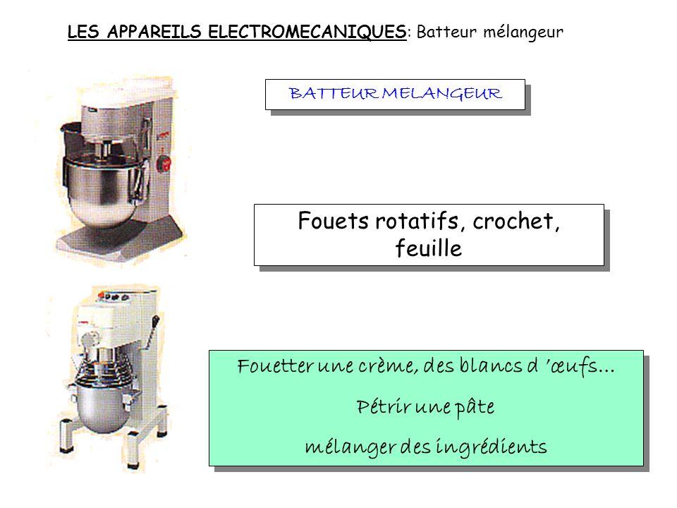 LES APPAREILS ELECTROMECANIQUES: Mixer plongeant MIXER PLONGEANT Couteau en métal fixé sur un axe Hacher finement et mélanger des potages, des sauces,