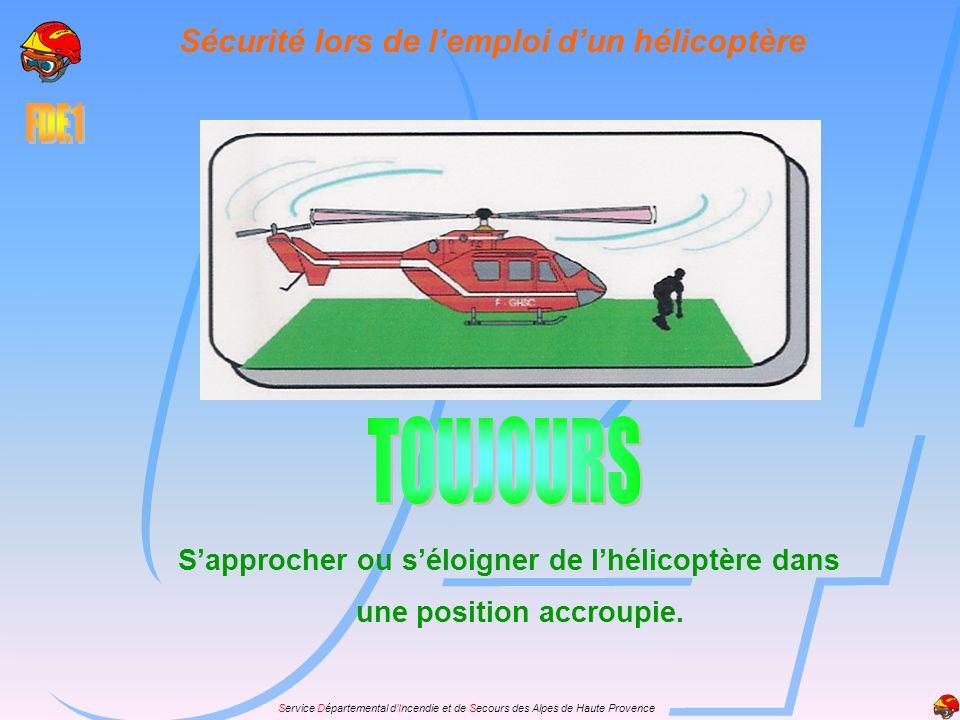 Service Départemental dIncendie et de Secours des Alpes de Haute Provence Sapprocher ou séloigner de lhélicoptère dans une position accroupie. Sécurit