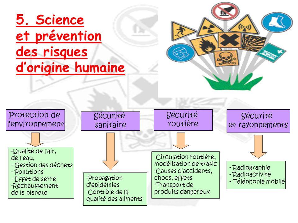 5. Science et prévention des risques dorigine humaine Protection de lenvironnement Sécurité sanitaire Sécurité routière Sécurité et rayonnements -Qual