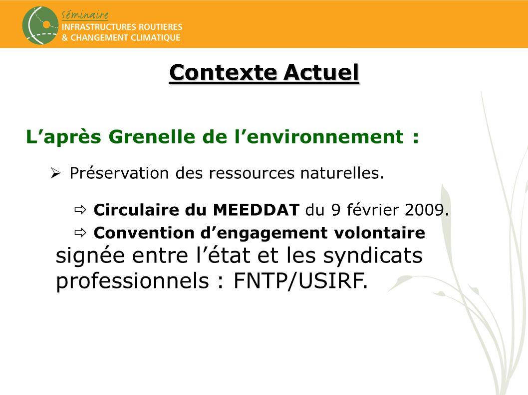 Contexte Actuel Laprès Grenelle de lenvironnement : Préservation des ressources naturelles. Circulaire du MEEDDAT du 9 février 2009. Convention dengag