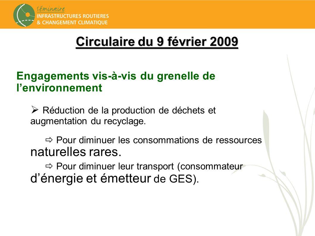 Circulaire du 9 février 2009 Engagements vis-à-vis du grenelle de lenvironnement Réduction de la production de déchets et augmentation du recyclage. P