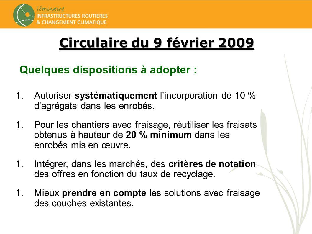 Circulaire du 9 février 2009 Quelques dispositions à adopter : 1.Autoriser systématiquement lincorporation de 10 % dagrégats dans les enrobés. 1.Pour