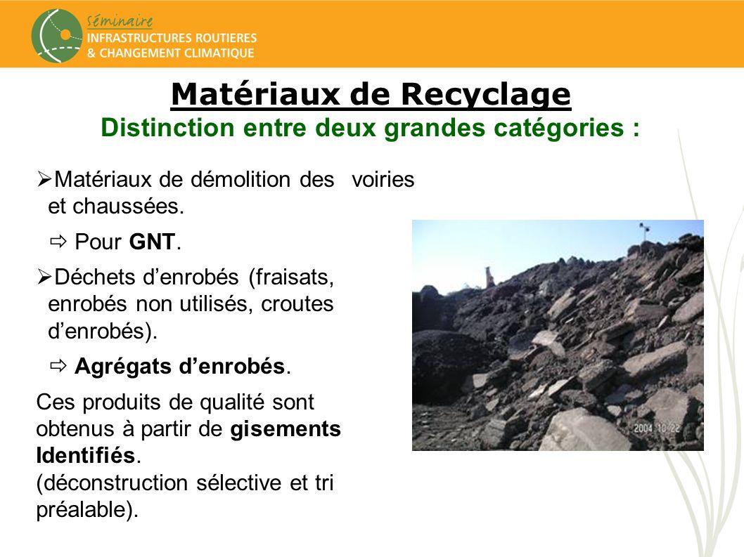 Matériaux de démolition des voiries et chaussées. Pour GNT. Déchets denrobés (fraisats, enrobés non utilisés, croutes denrobés). Agrégats denrobés. Ce