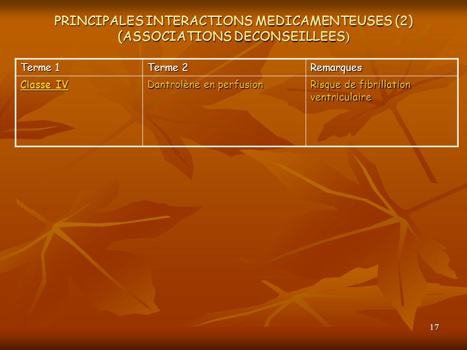 17 PRINCIPALES INTERACTIONS MEDICAMENTEUSES (2) (ASSOCIATIONS DECONSEILLEES ) Terme 1 Terme 2 Remarques Classe IV Dantrolène en perfusion Risque de fi
