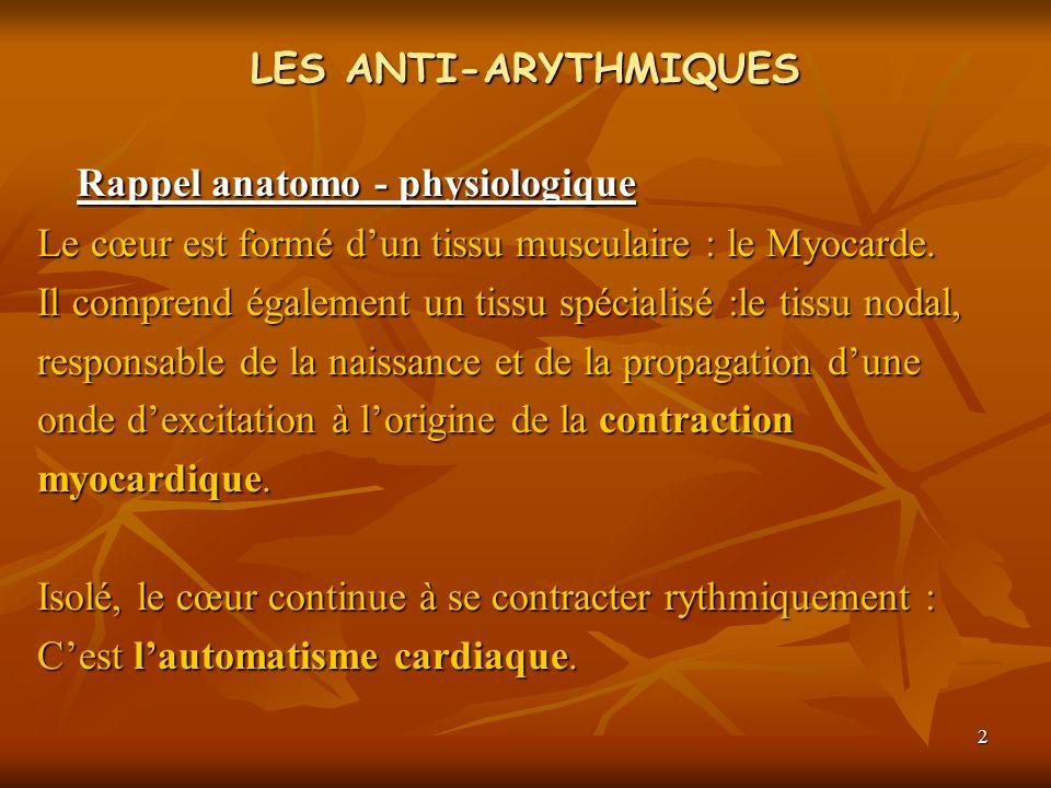 3 LES ANTI-ARYTHMIQUES Ces deux phénomènes sexpliquent par des échanges ioniques de part et dautre des membranes cellulaires, créant un potentiel daction.