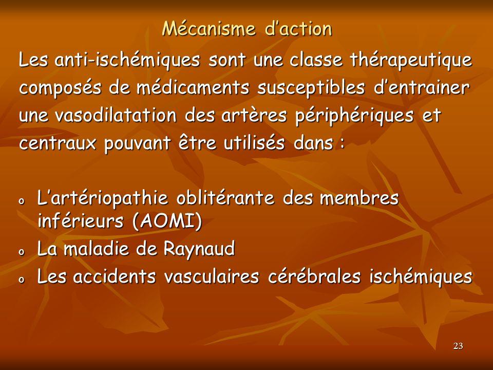 23 Mécanisme daction Les anti-ischémiques sont une classe thérapeutique composés de médicaments susceptibles dentrainer une vasodilatation des artères