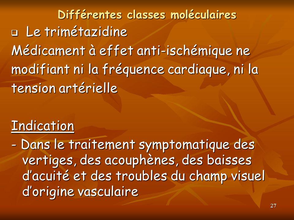 27 Différentes classes moléculaires Le trimétazidine Le trimétazidine Médicament à effet anti-ischémique ne modifiant ni la fréquence cardiaque, ni la