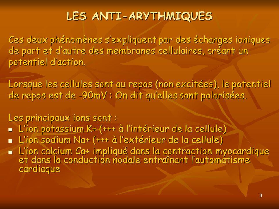 3 LES ANTI-ARYTHMIQUES Ces deux phénomènes sexpliquent par des échanges ioniques de part et dautre des membranes cellulaires, créant un potentiel dact