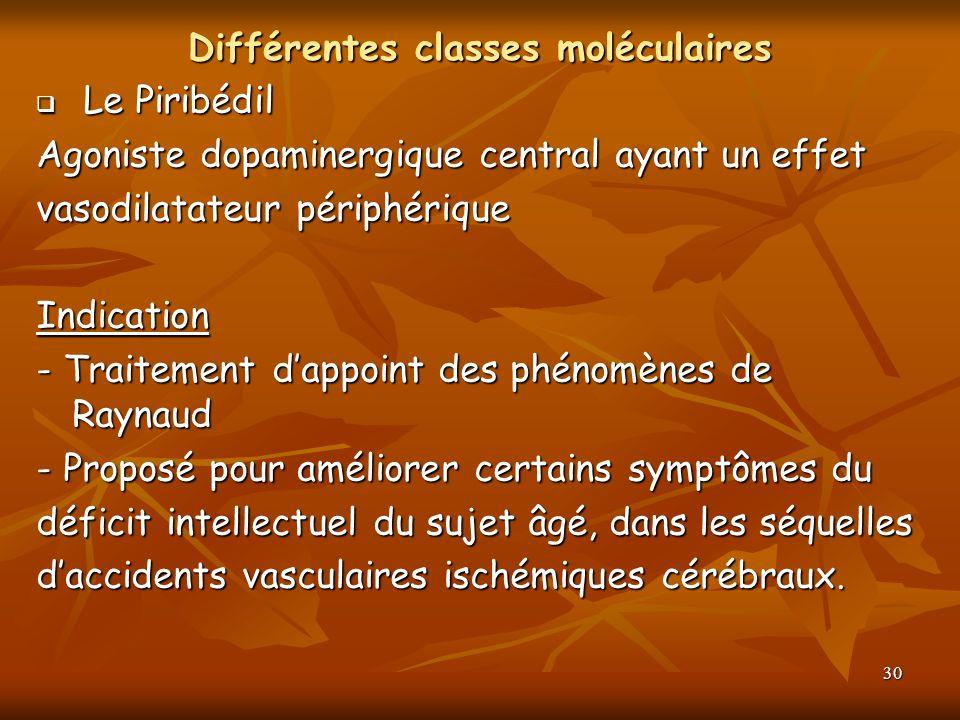 30 Différentes classes moléculaires Le Piribédil Le Piribédil Agoniste dopaminergique central ayant un effet vasodilatateur périphérique Indication -