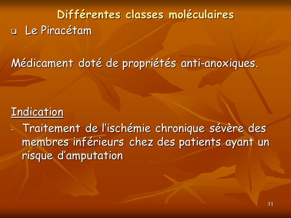 31 Différentes classes moléculaires Le Piracétam Le Piracétam Médicament doté de propriétés anti-anoxiques. Indication - Traitement de lischémie chron