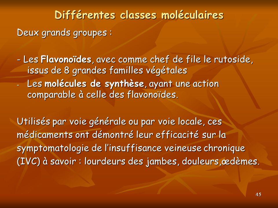 45 Différentes classes moléculaires Deux grands groupes : - Les Flavonoïdes, avec comme chef de file le rutoside, issus de 8 grandes familles végétale