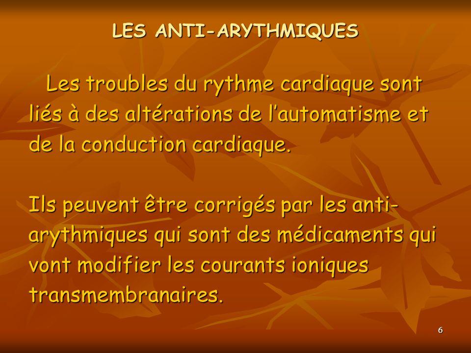 6 LES ANTI-ARYTHMIQUES Les troubles du rythme cardiaque sont liés à des altérations de lautomatisme et de la conduction cardiaque. Ils peuvent être co