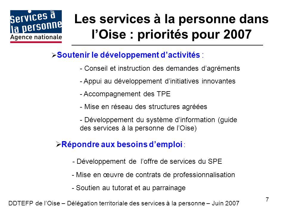 7 Soutenir le développement dactivités : - Conseil et instruction des demandes dagréments - Appui au développement dinitiatives innovantes - Accompagnement des TPE - Mise en réseau des structures agréées - Développement du système dinformation (guide des services à la personne de lOise) Répondre aux besoins demploi : - Développement de loffre de services du SPE - Mise en œuvre de contrats de professionnalisation - Soutien au tutorat et au parrainage DDTEFP de lOise – Délégation territoriale des services à la personne – Juin 2007 Les services à la personne dans lOise : priorités pour 2007