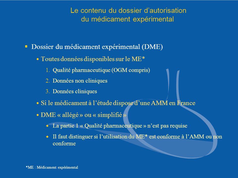 Le contenu du dossier dautorisation du médicament expérimental Dossier du médicament expérimental (DME) Toutes données disponibles sur le ME* 1.Qualit