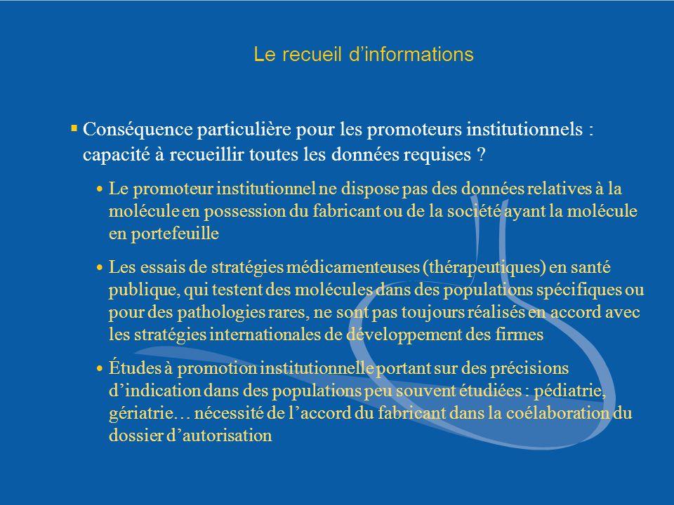 Le recueil dinformations Conséquence particulière pour les promoteurs institutionnels : capacité à recueillir toutes les données requises ? Le promote