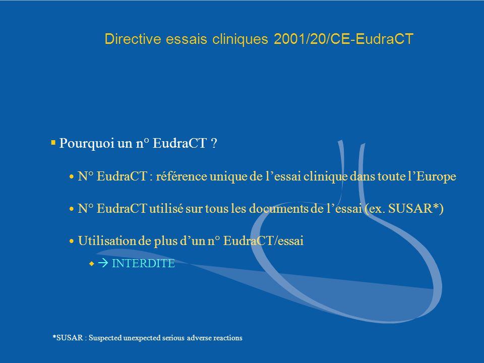 Directive essais cliniques 2001/20/CE-EudraCT Pourquoi un n° EudraCT ? N° EudraCT : référence unique de lessai clinique dans toute lEurope N° EudraCT