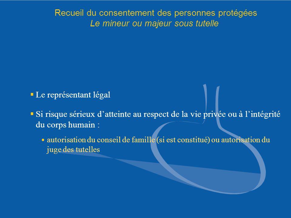 Recueil du consentement des personnes protégées Le mineur ou majeur sous tutelle Le représentant légal Si risque sérieux datteinte au respect de la vi