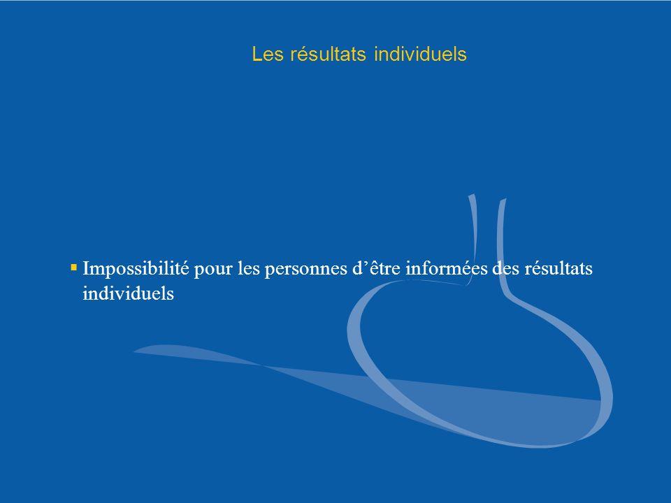 Les résultats individuels Impossibilité pour les personnes dêtre informées des résultats individuels