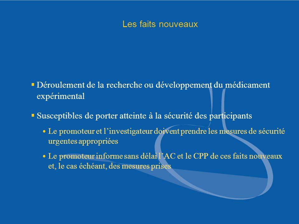 Les faits nouveaux Déroulement de la recherche ou développement du médicament expérimental Susceptibles de porter atteinte à la sécurité des participa