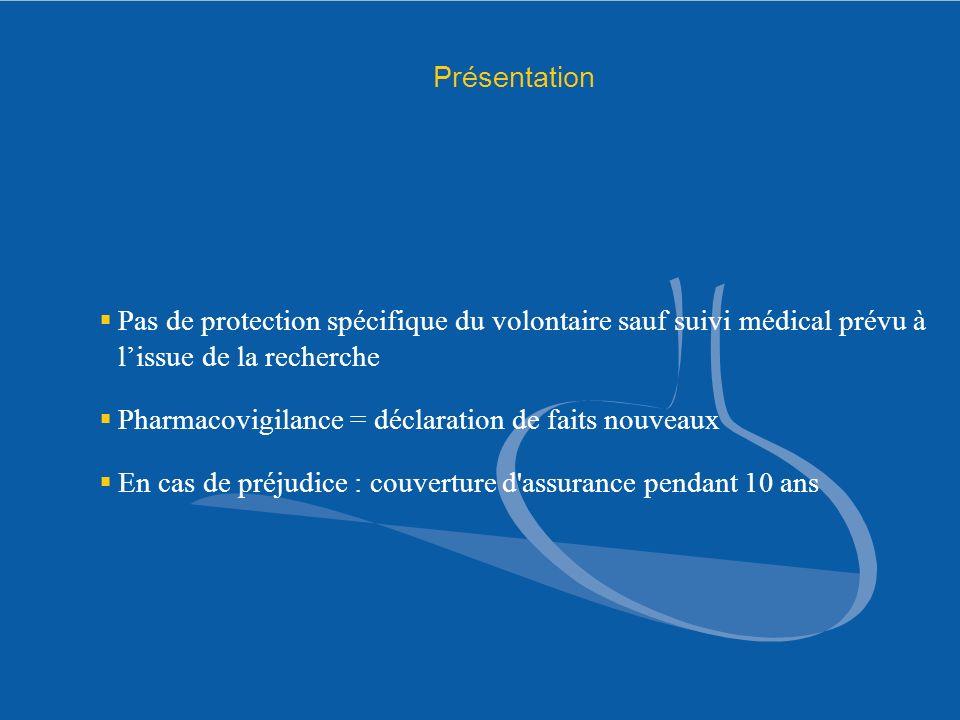 Présentation Pas de protection spécifique du volontaire sauf suivi médical prévu à lissue de la recherche Pharmacovigilance = déclaration de faits nou