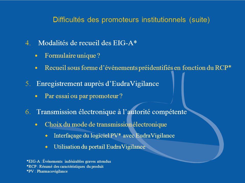 Difficultés des promoteurs institutionnels (suite) 4. Modalités de recueil des EIG-A* Formulaire unique ? Recueil sous forme dévénements préidentifiés