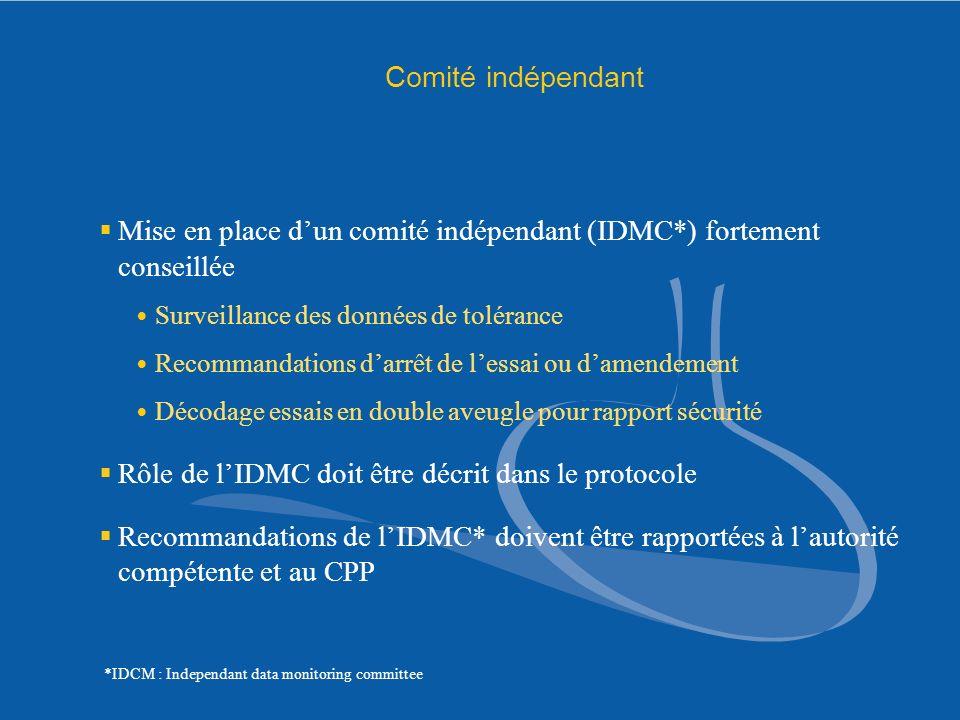 Comité indépendant Mise en place dun comité indépendant (IDMC*) fortement conseillée Surveillance des données de tolérance Recommandations darrêt de l
