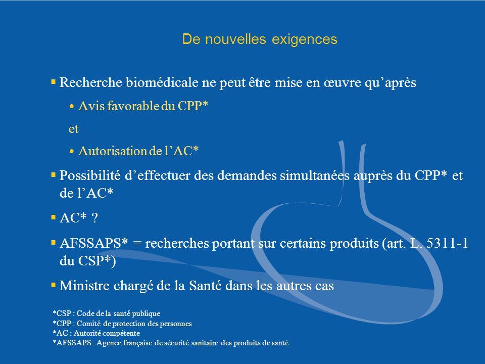 De nouvelles exigences Recherche biomédicale ne peut être mise en œuvre quaprès Avis favorable du CPP* et Autorisation de lAC* Possibilité deffectuer